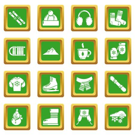 Winter clothes icons set vector green square isolated on white background