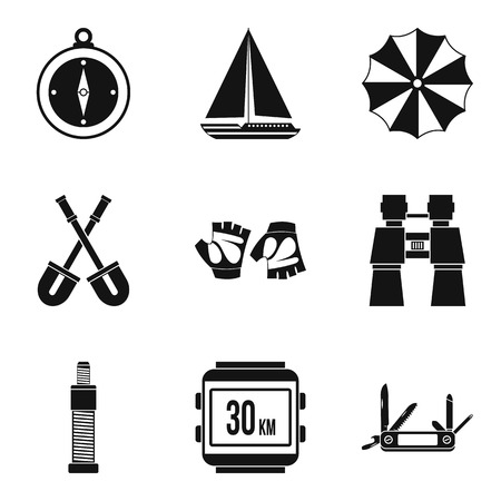 Transition period icons set, simple style