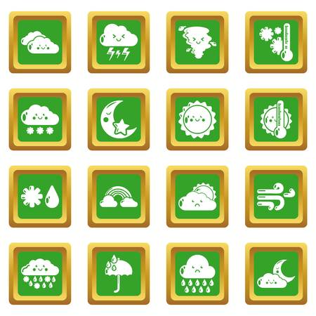 Weather icons set vector green square isolated on white background