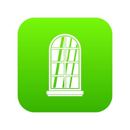 White window frame icon digital green for any design isolated on white vector illustration