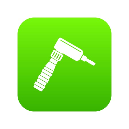 Hand draw rotary tattoo machine icon digital green for any design isolated on white vector illustration
