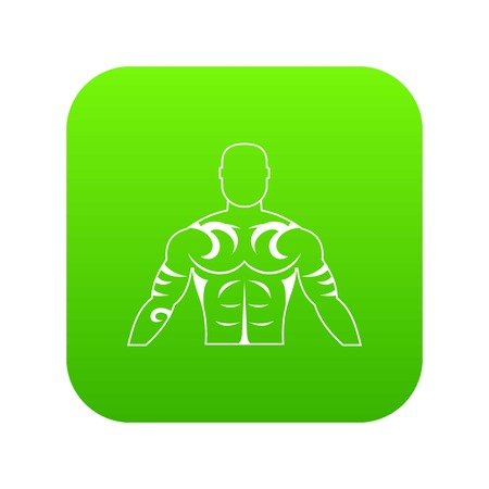 Muscular man with tattoo icon digital green for any design isolated on white vector illustration