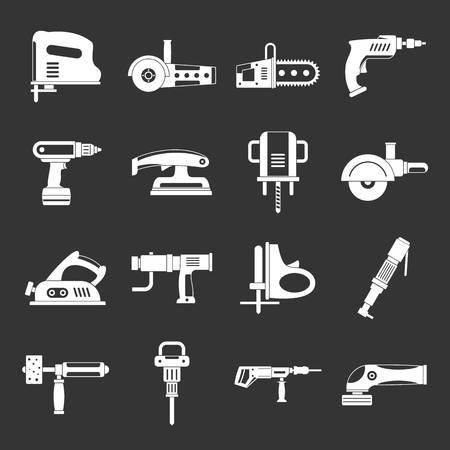 Electric tools icons set vector on dark background