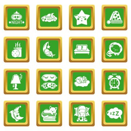Sleeping icons set vector green square isolated on white background  向量圖像