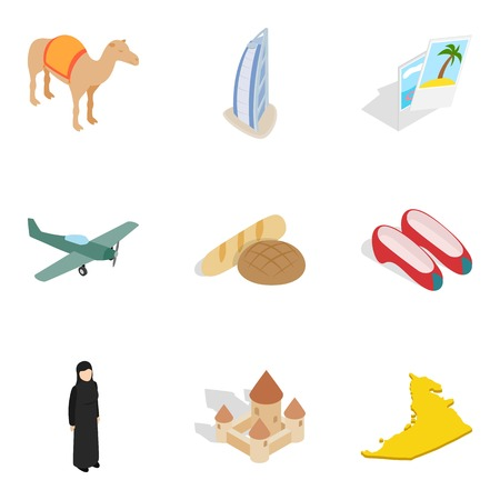 Big travel icons set, isometric style