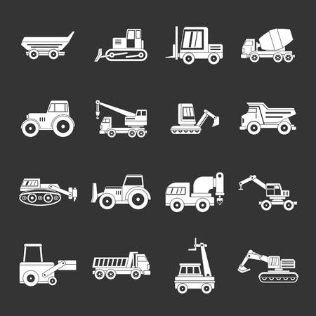 Building vehicles icons set vector on dark background