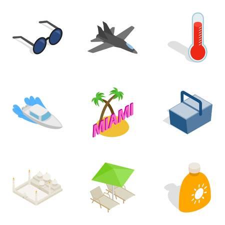 Clambake icons set. Isometric set of 9 clambake vector icons for web isolated on white background Illustration