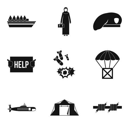 Collateral damage icons set. Simple set of 9 collateral damage vector icons for web isolated on white background