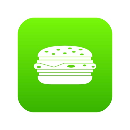 Burger icon digital green