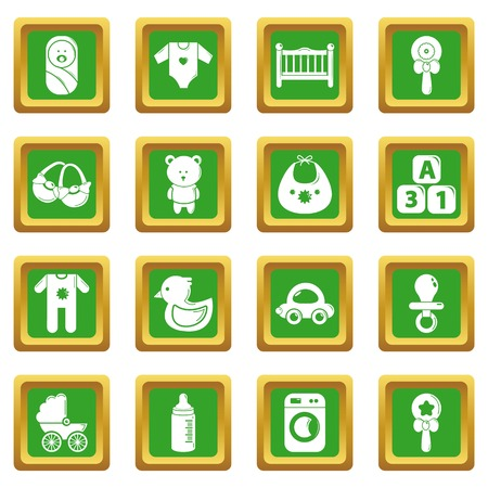 Baby born icons set green square vector