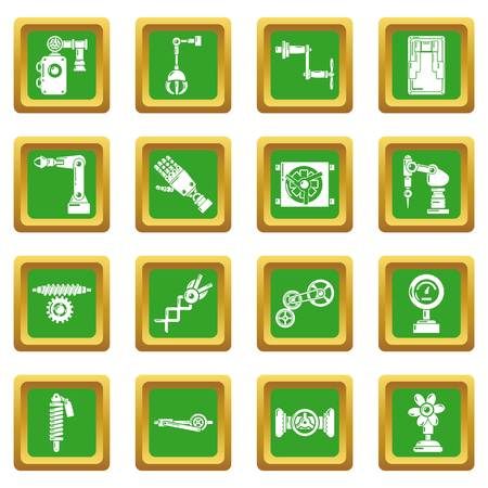 Technical mechanisms icons set vector green square isolated on white background