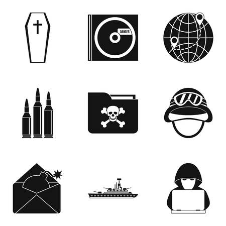 Armed action icons set. Simple set of 9 armed action vector icons for web isolated on white background