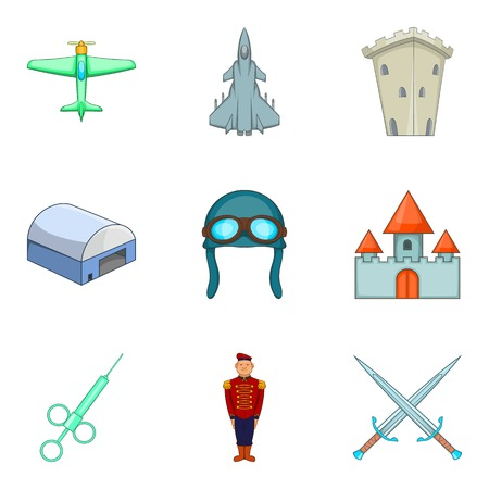 Military icons set illustration Illustration