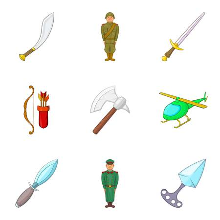 Military intervention icons set illustration