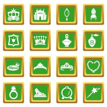 Princess doll icons set illustration 向量圖像