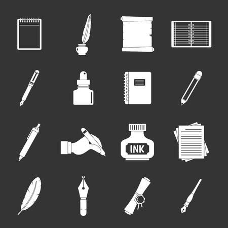 Writing icons set illustration