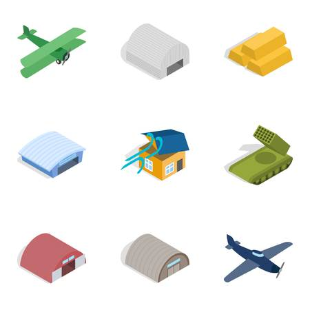 War equipment icons set illustration