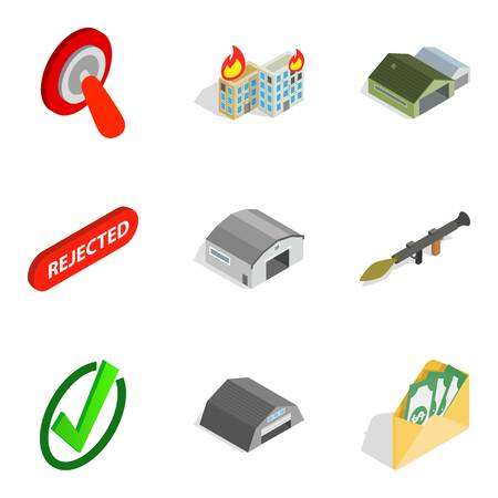 Military items icons set illustration