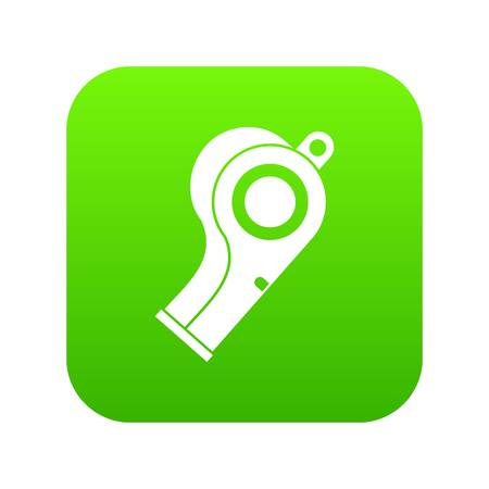 Sport whistle icon digital green