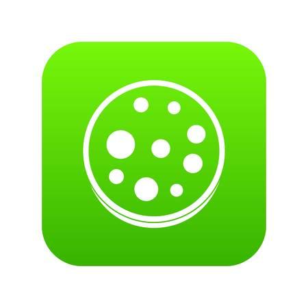 Slice of salami icon digital green