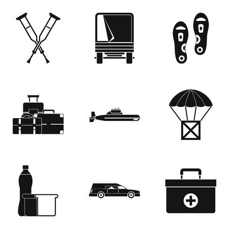 Military crime icons set, simple style Vector illustration.