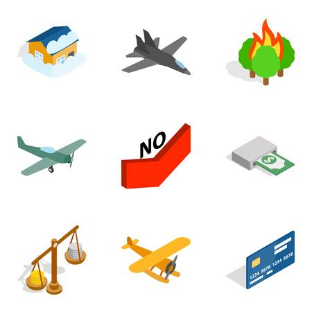 Airplane, fire,  credit card and scale icons.  Isometric set of 9 vector icons for web isolated on white background