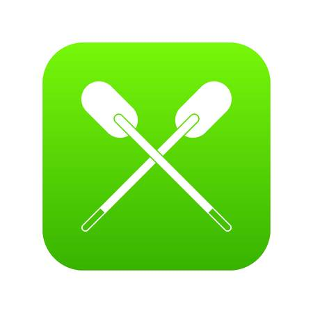 Two wooden crossed oars icon digital green for any design isolated on white vector illustration
