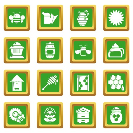 Apiary honey icons set vector green square isolated on white background