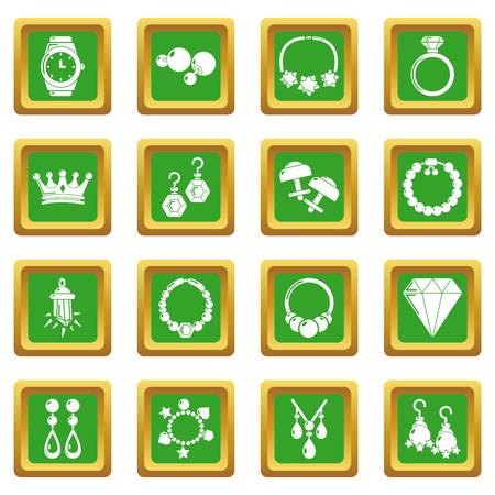 Jewelry shop icons set vector green square isolated on white background  Çizim