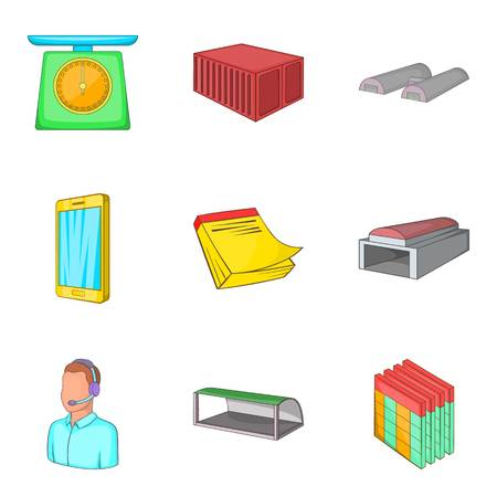Depository icons set. Cartoon set of 9 depository vector icons for web isolated on white background