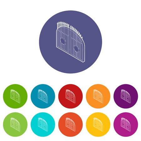 Gate icons color set vector for any web design on white background