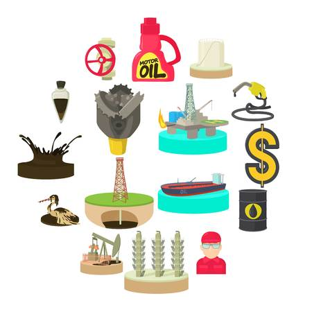 Oil and energy industry icons set. Cartoon illustration of 16 oil and energy industry vector icons for web Illustration