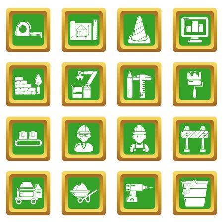 Building process icons set green square Vector illustration. Illustration