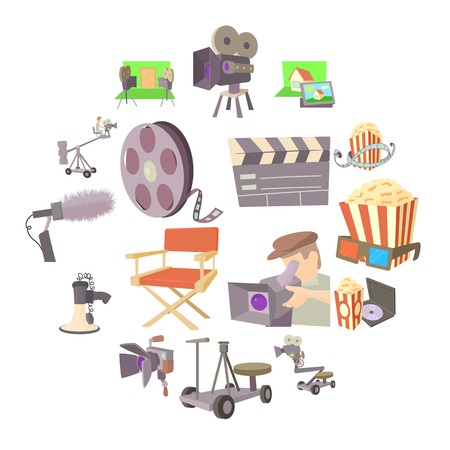 Movie cinema symbols icons set. Cartoon illustration of 16 movie cinema symbols vector icons for web