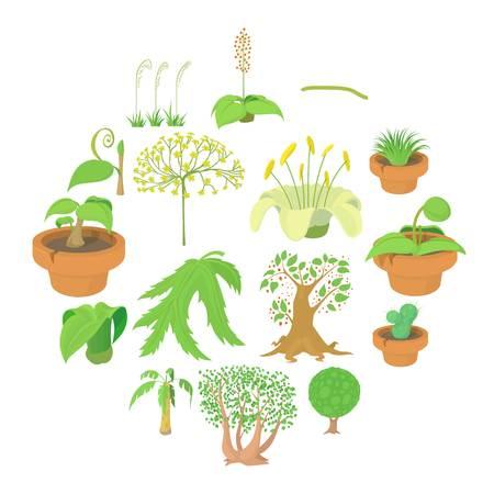 Nature green symbols icons set, cartoon style Vector illustration. Illustration