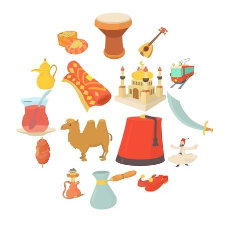 Turkey travel symbols icons set, cartoon style Vector illustration. Illustration