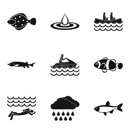 Reservoir icons set, simple style Vector illustration.