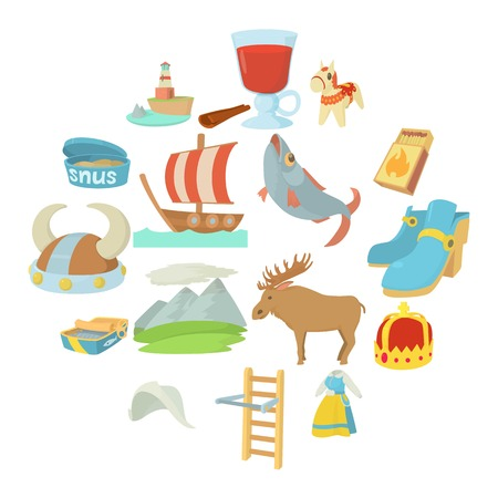 Sweden travel symbols icons set. Cartoon illustration of 16 Sweden travel symbols vector icons for web Illustration