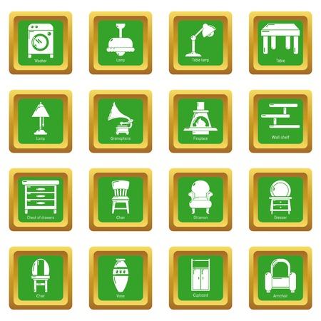 Interior furniture icons set green square Vector illustration.