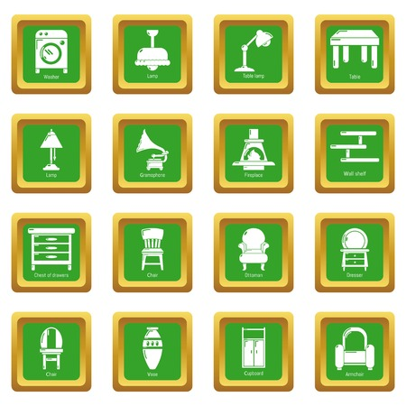 Interior furniture icons set green square Vector illustration.