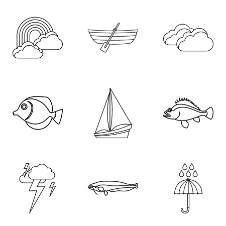 Swim icons set. Outline set of 9 swim vector icons for web isolated on white background Ilustração