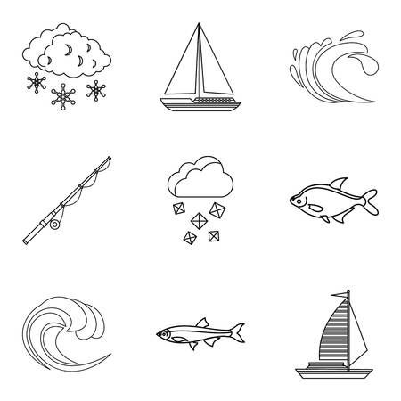 Snorkel icons set. Outline set of 9 snorkel vector icons for web isolated on white background