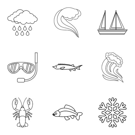 Catchment area icons set, outline style
