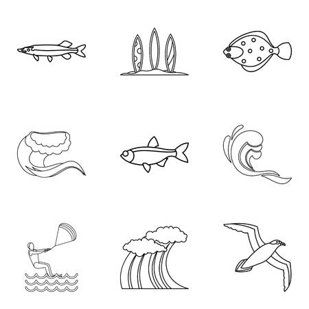 Watershed icons set. Outline set of 9 watershed vector icons for web isolated on white background Illusztráció