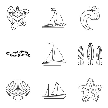 Divide icons set, outline style