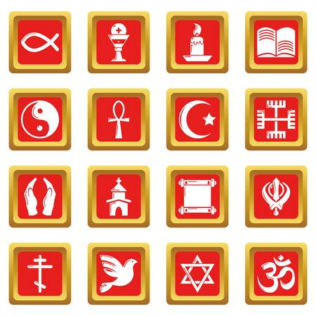 Religion icons set red square vector