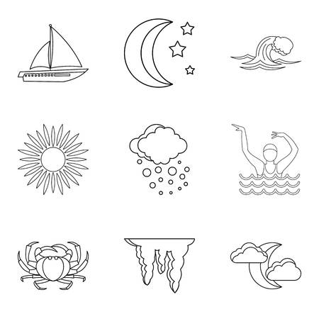 Water content icons set, outline style