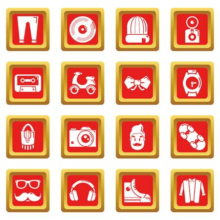 Hipster symbols icons set vector red square isolated on white background