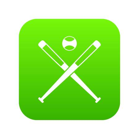 Crossed baseball bats and ball icon digital green for any design isolated on white vector illustration 向量圖像
