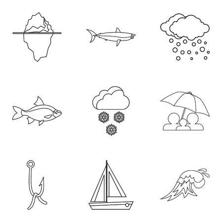 Moisture icons set, outline style Ilustração